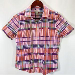 Orvis Button Shirt Short Sleeve V Neck 100% Cotton